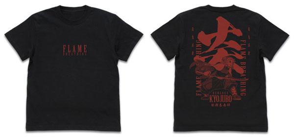 鬼滅の刃 無限列車編 炎の呼吸 煉獄杏寿郎 Tシャツ/BLACK-S(再販)[コスパ]《12月予約》
