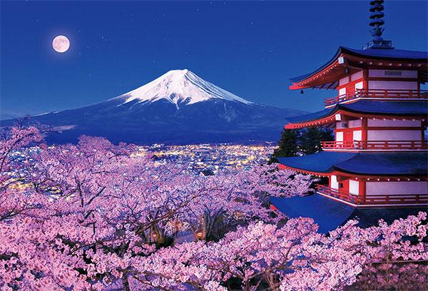 ジグソーパズル 富士と夜桜咲く浅間神社 1000ピース (51-276)[ビバリー]《在庫切れ》