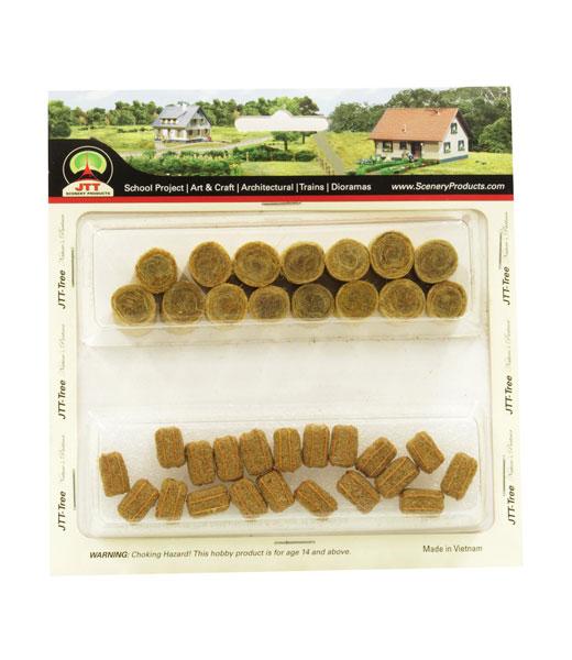 牧草セット ロール牧草(15個入り)&長方形の牧草(20個入り) HOスケール[JTTミニチュアツリー]《在庫切れ》