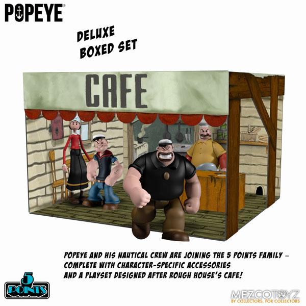 5ポイント/ POPEYE: ポパイ カフェラウンジ 3.75インチ アクションフィギュア ボックスセット[メズコ]《09月仮予約》