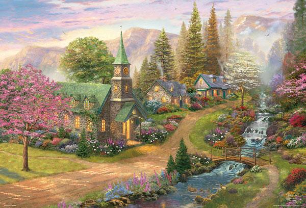 ジグソーパズル 輝く春と川辺のチャペル 2000スモールピース(S92-508)[ビバリー]《発売済・在庫品》