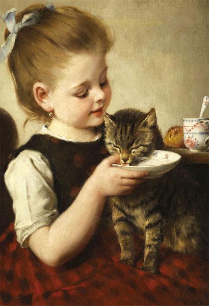 ジグソーパズル ミルクを飲む猫(シュルツァ〈独〉) 300ピース (300-246)[キューティーズ]《04月予約》