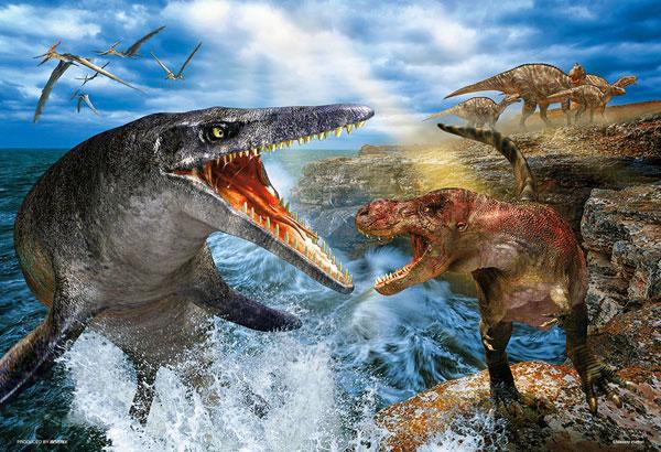 ジグソーパズル 最強の戦い ティラノサウルス VS モササウルス 300ピース (93-165)[ビバリー]《05月予約》