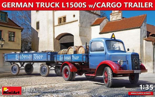 1/35 ドイツトラックL1500S カーゴトレイラー付 プラモデル[ミニアート]《在庫切れ》