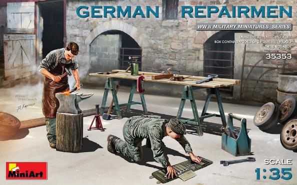 1/35 ドイツ修理工2体セット(作業台・工具付) プラモデル[ミニアート]《発売済・在庫品》