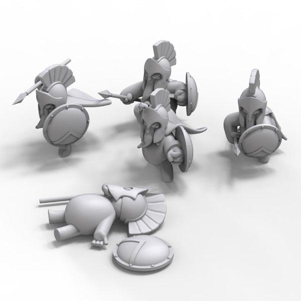 アニマル戦隊 トゥーンズ! ノンスケール 紀元前 スパルタン戦士のゾウさんセット(5体入)[TORI FACTORY]《在庫切れ》