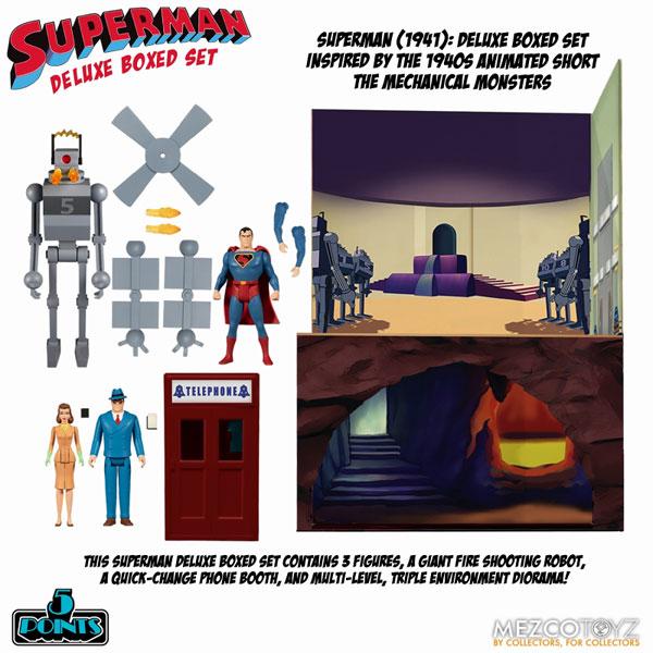 5ポイント スーパーマン 1941 アニメーション ザ・メカニカル・モンスターズ アクションフィギュア ボックスセット[メズコ]《12月仮予約》