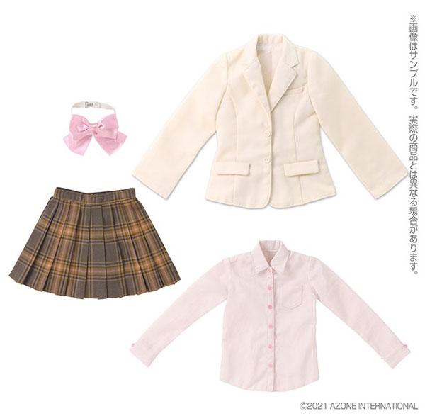 1/3スケール用 45ブレザー制服set アイボリー×ブラウンチェック (ドール用)[アゾン]《05月予約》