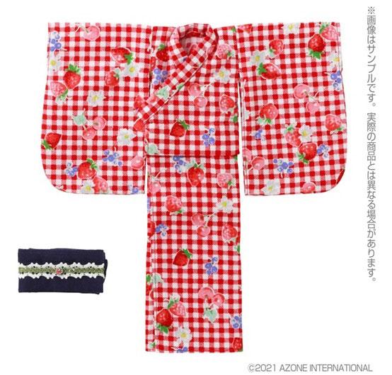 1/6 ピュアニーモ用 PNS 浴衣set~苺と乙女~ レッドギンガムチェック (ドール用)[アゾン]《発売済・在庫品》