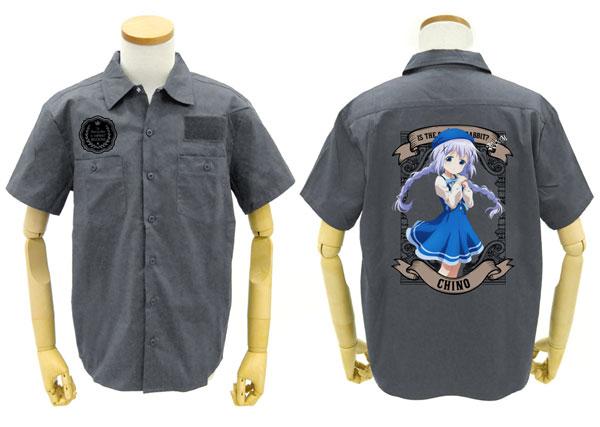 GEE!限定 ご注文はうさぎですか? BLOOM チノ フルカラーワークシャツ/GRAY-L[コスパ]《在庫切れ》