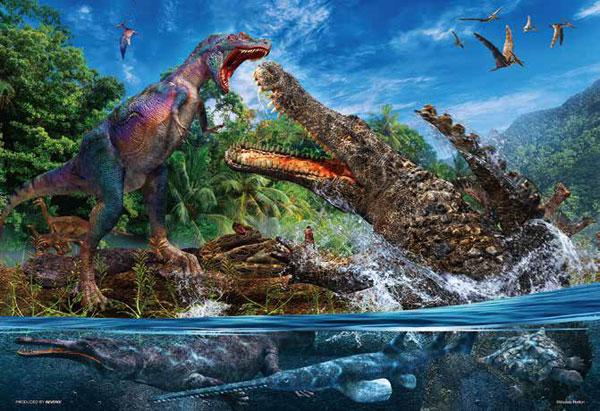 ジグソーパズル デイノスクス VS アルバートサウルス 150ラージピース (L74-190)[ビバリー]《06月予約》
