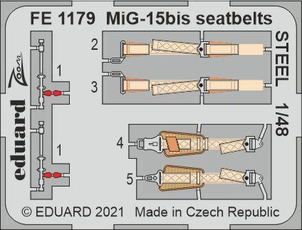 1/48 MiG-15bis シートベルト (ステンレス製) (ブロンコ用)[エデュアルド]《在庫切れ》