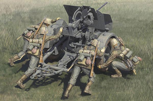 1/35 ファイティングヴィークルシリーズ ドイツ 20mm Flak38 対空機関砲w/クルー プラモデル[ホビーボス]《06月予約》