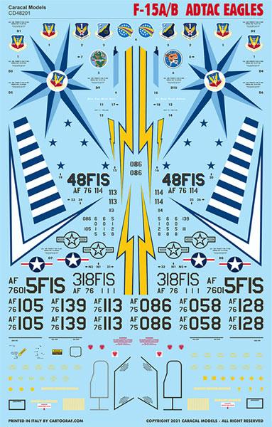 """1/48 アメリカ空軍 F-15A/B """"ADTACイーグルス"""" デカール[カラカルモデル]《06月予約》"""
