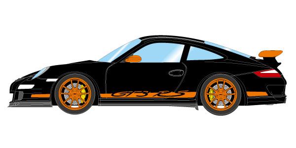 1/43 ポルシェ 911 (997) GT3 RS 2007 ブラック / オレンジリバリー[メイクアップ]【送料無料】《12月予約》
