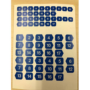 1201 号車番号・方向判別シール ブルー5枚入り