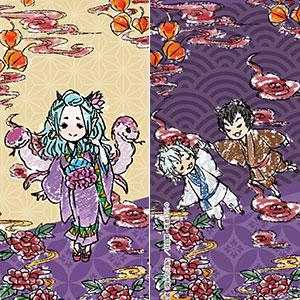 ビッグレザーストラップ「鬼灯の冷徹」02/お香&唐瓜&茄子(グラフアートデザイン)