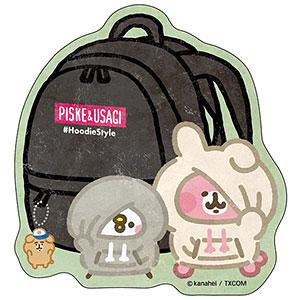 カナヘイの小動物 トラベルステッカー ピスケ&うさぎのパーカースタイル (4)