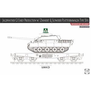 1/35 ドイツ重駆逐戦車 ヤークトパンター G1 Sd.Kfz.173 前期型w/ツィンメリットコーティング & 重平貨車 Ssysタイプ 限定版