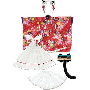 1/6 ピュアニーモ用 PNS ねこみみ和装メイドセットIII 赤 (ドール用)