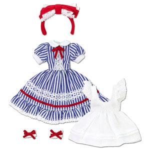 ピコニーモ用 1/12 夢見る少女のアリスドレスセット ブルーストライプ (ドール用)