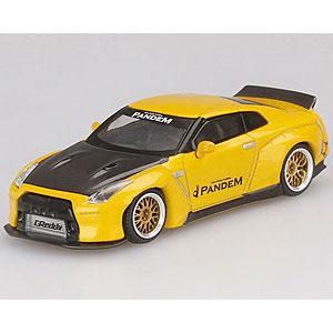 1/64 Pandem Nissan GT-R R35 ダックテイル メタリックイエロー/カーボン(右ハンドル)