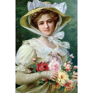 ジグソーパズル バラの花束を持つ貴婦人 (エミール・ヴァーノン) 1000ピース (1000-080)