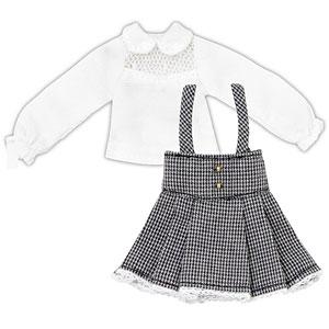 ピコニーモ用 1/12 スウィートハイウエストスカートset ホワイト×ブラック (ドール用)