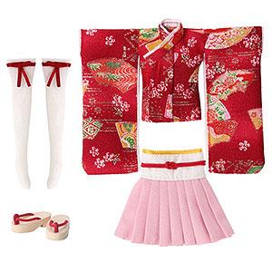 ピコニーモ用 1/12 ピコMミニスカ着物set~舞扇~ 赤紅 (ドール用)