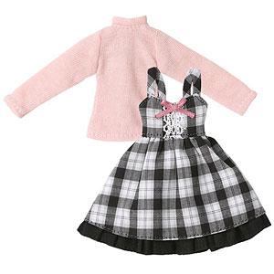 ピコニーモ用 1/12 ガーリージャンパースカートset ホワイト×ブラックチェック (ドール用)