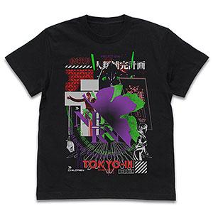 EVANGELION ネルフ アシッドグラフィックス Tシャツ/BLACK-XL