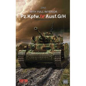 1/35 IV号戦車 G/H型w/連結組立可動式履帯 & フルインテリア (2 in 1) プラモデル