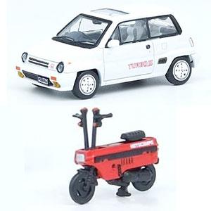 1/64 Honda シティ ターボII ホワイト モトコンポ レッド 付属