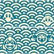 Kirby - FuwaFuwa Collection Masking Tape (2) Kirby & Friends, Blue Sea Wave Pattern